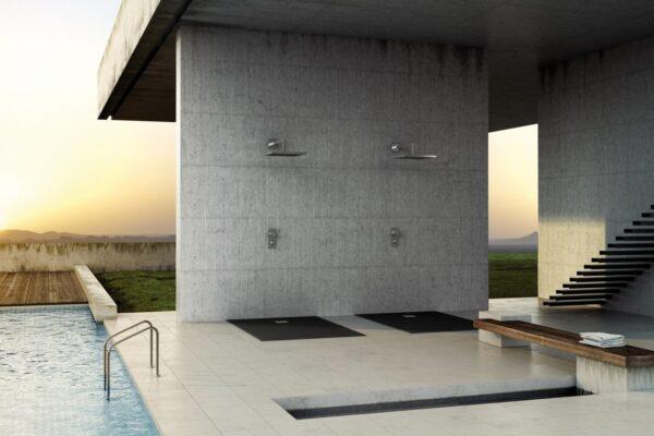 Fiora Silex Extra Flat Slate Black Shower Tray